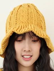 Недорогие -Жен. Активный / Классический Вязаная шапочка / Берет / Широкополая шляпа Однотонный