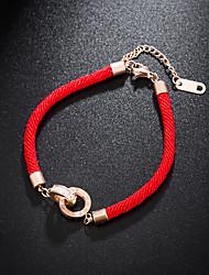 Недорогие -Веревка Браслет - Стразы, Титановая сталь Везучий Дамы, европейский, Простой стиль, Мода Белый / Красный Назначение Повседневные Жен.