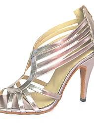 Недорогие -Жен. Обувь для латины Полиуретан На каблуках Планка Тонкий высокий каблук Персонализируемая Танцевальная обувь Серебряный