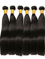Недорогие -6 Связок Бразильские волосы Индийские волосы Прямой 8A Натуральные волосы Необработанные натуральные волосы Подарки Косплей Костюмы Головные уборы 8-28 дюймовый Естественный цвет