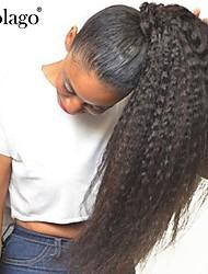 baratos -Clip Rabos-de-Cavalo Sem Cheiros / Presente / Para Mulheres Negras Cabelo Natural Remy / Cabelo Humano Pedaço de cabelo Alongamento Liso Comprimento Total Diário