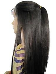 Недорогие -человеческие волосы Remy 4x4 Закрытие Лента спереди Парик Стрижка каскад стиль Бразильские волосы Вытянутые Черный Парик 130% Плотность волос / Шелковые базовые волосы / Природные волосы