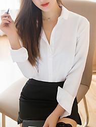 Недорогие -Жен. Супер секси Форма / чонсам Ночное белье - Рюши, Офис и карьера Однотонный / Рубашечный воротник