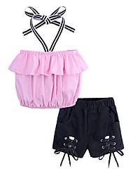 お買い得  -子供 女の子 活発的 / ストリートファッション 日常 / お出かけ ストライプ レースアップ ノースリーブ ショート レーヨン アンサンブル ピンク