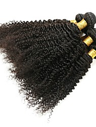 Недорогие -6 Связок Бразильские волосы Kinky Curly Натуральные волосы Необработанные натуральные волосы Головные уборы Человека ткет Волосы Уход за волосами 8-28 дюймовый Естественный цвет