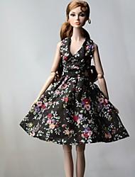 Недорогие -Платье куклы Платья Для Barbie Цветочный принт Цветы Цветочные ботанический Черный Ткань Хлопковая ткань Нетканый материал Платье Для Девичий игрушки куклы