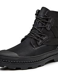hesapli -Erkek Ayakkabı Deri Sonbahar Kış Vintage / Günlük Çizmeler Yarı-Diz Boyu Çizmeler Günlük / Ofis ve Kariyer için Siyah