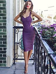 abordables -Femme Elégant Mi-long Gaine Robe Couleur Pleine Bleu Violet M L XL Sans Manches