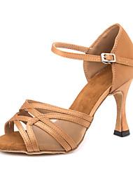 baratos -Mulheres Sapatos de Dança Latina Cetim Sandália / Têni Presilha Salto Alto Magro Personalizável Sapatos de Dança Marron
