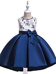お買い得  -子供 女の子 活発的 / 甘い パーティー / 祝日 フラワー / パッチワーク パッチワーク / プリント ノースリーブ アシメントリー ドレス ブルー