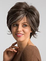 abordables -Perruque Synthétique Droite naturelle Style Bob Coupe Carré Sans bonnet Perruque Marron Marron Cheveux Synthétiques 10 pouce Femme Design Tendance / Nouvelle arrivee / Ligne de Cheveux Naturelle