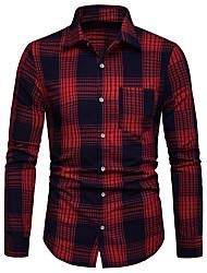 Недорогие -Муж. Рубашка Деловые / Классический Геометрический принт / Контрастных цветов