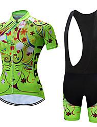 Недорогие -С короткими рукавами Велокофты и велошорты-комбинезоны - Белый / Черный Велоспорт Дышащий, Быстровысыхающий Цветочные / ботанический / Эластичная