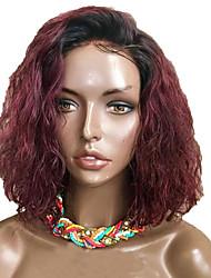 저렴한 -인모 전면 레이스 가발 밥 헤어컷 짧은 밥 Rihanna 스타일 브라질리언 헤어 요동하는 버건디 가발 130 % Haardichte 아기 머리카락 자연 헤어 라인 흑인여성 제품 100% 처녀 100% 핸드 타이드 버건디 여성용 짧음 인모 레이스 가발