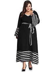 Недорогие -Жен. Элегантный стиль Оболочка Платье - Полоски V-образный вырез Макси / Сексуальные платья