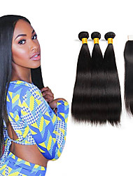 cheap -3 Bundles with Closure Indian Hair Silky Straight 100% Remy Hair Weave Bundles Hair Accessory Human Hair Extensions Hair Weft with Closure 10-26 inch Natural Color Human Hair Weaves Waterfall Woven