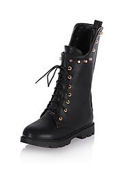 hesapli -Kadın's Ayakkabı PU Sonbahar Kış Vintage / Minimalizm Çizmeler Düz Taban Yuvarlak Uçlu Yarı-Diz Boyu Çizmeler Günlük / Ofis ve Kariyer için Kırmzı / Mavi / Haki