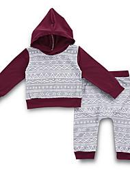 billige -Baby Gutt Gatemote Daglig Trykt mønster Langermet Normal Polyester Tøysett Grå