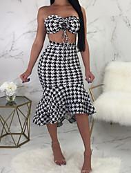 Недорогие -Жен. Классический Оболочка / Из двух частей Платье - Геометрический принт Средней длины