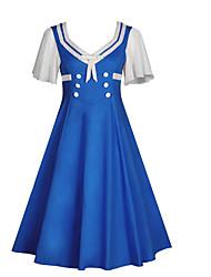 Недорогие -Жен. А-силуэт Платье - Контрастных цветов, Пэчворк Средней длины