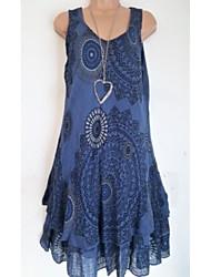 Недорогие -Жен. С принтом Большие размеры - Блуза V-образный вырез Геометрический принт / Контрастных цветов / Весна / Лето / Осень