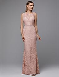 ราคาถูก -ชีท / คอลัมน์ อัญมณี ลากพื้น ลูกไม้ Prom แต่งตัว กับ ริบบิ้น โดย TS Couture®