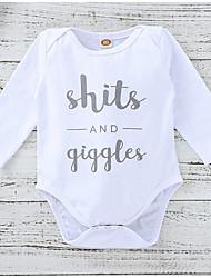 お買い得  -赤ちゃん 女の子 ストリートファッション 日常 プリント 長袖 ポリエステル ボディスーツ ホワイト