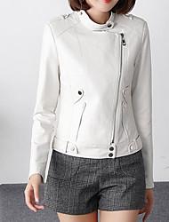 ราคาถูก -สำหรับผู้หญิง ทุกวัน ฤดูใบไม้ร่วง & ฤดูหนาว ปกติ แจ๊คเก็ต, สีพื้น ปกคอแบะของเสื้อแบบพึค แขนยาว ฝ้าย / เส้นใยสังเคราะห์ ขาว XL / XXL / XXXL