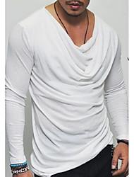 hesapli -Erkek asyalı büyük beden ince t-shirt - düz renkli yuvarlak boyun