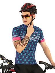 お買い得  -FirtySnow 男性用 半袖 サイクリングジャージー - ブルー+ピンク チェック / 格子柄 バイク ジャージー, 高通気性 速乾性 ポリエステル / 伸縮性あり