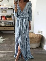 Недорогие -женское повседневное платье выше колена тонкая оболочка с высокой талией глубокий v синий s m l xl