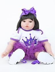 baratos -FeelWind Bonecas Reborn Bebês Meninas 22 polegada Silicone Vinil - realista Confeccionada à Mão Fofo Segura Para Crianças Crianças / Adolescente Non Toxic de Criança Unisexo Brinquedos Dom