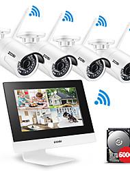 Недорогие -ZOSS® 4-канальная система видеонаблюдения Беспроводная 960P 10 ЖК-NVR Система безопасности камеры 1.3MP ИК открытый P2P Wi-Fi IP-камера наблюдения комплект 500 ГБ