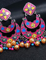 economico -Per donna Fantasia Orecchini a goccia - Perle finte, Placcato in oro, Diamanti d'imitazione Stile Boho Gioielli Rosso / Verde / Blu Per Regalo Palco Per eventi / 1 paio