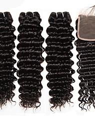 abordables -3 paquets avec fermeture Cheveux Brésiliens Ondulation profonde Cheveux Naturel Rémy Tissages de cheveux humains Extension Bundle cheveux 8-20 pouce Couleur naturelle Tissages de cheveux humains 4x4