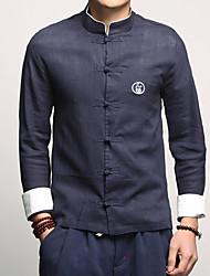 Недорогие -Муж. Большие размеры - Рубашка Хлопок / Лён Однотонный / Воротник-стойка / Длинный рукав