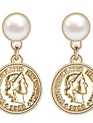 Недорогие -Жен. Монета Серьги-слезки - Искусственный жемчуг Позолота Стиль модный Английский Бижутерия Золотой Назначение Свадьба Обручение 1 пара