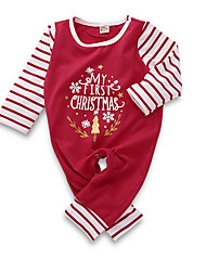 cheap -Baby Girls' Street chic Daily Print Long Sleeve Polyester Romper Red