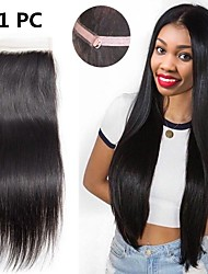 cheap -Brazilian Hair 4x4 Closure / Free Part Straight Free Part Swiss Lace Remy Human Hair Women's Party / Classic / Natural Wedding Party / Holiday / Birthday Party / Black