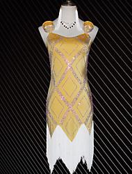 お買い得  -ラテンダンス ドレス 女の子 性能 スパンデックス タッセル / クリスタル / ラインストーン ノースリーブ ドレス