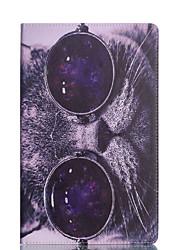 billiga -fodral Till Samsung Galaxy Tab A2 10.5(2018) Korthållare / Stötsäker / med stativ Fodral Katt Hårt PU läder för Tab A2 10.5(2018)