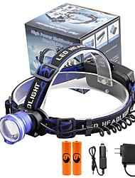 Недорогие -U'King Налобные фонари Фары для велосипеда Светодиодная лампа LED излучатели 2000 lm 3 Режим освещения с батарейками и зарядными устройствами Масштабируемые, Будильник, Фокусировка