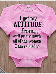お買い得  -赤ちゃん 女の子 ストリートファッション 日常 プリント 長袖 ポリエステル ボディスーツ ピンク