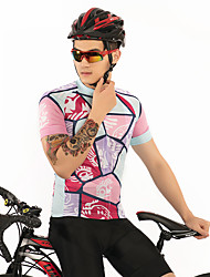 お買い得  -FirtySnow 男性用 半袖 サイクリングジャージー - ピンク 創造的 グラフィック バイク ジャージー, 高通気性 速乾性 ポリエステル / 伸縮性あり
