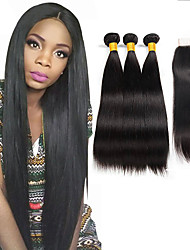 cheap -3 Bundles with Closure Brazilian Hair Silky Straight Unprocessed Human Hair Human Hair Extensions Hair Weft with Closure 10-26 inch Natural Color Human Hair Weaves Woven New Arrival Hot Sale Human