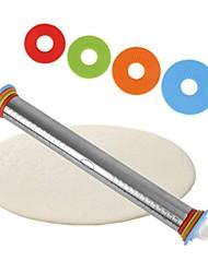 billige -Rullepind af rustfrit stål 4 Justerbare skiver, ikke-klæbende, aftagelige ringe dejdumplings nudler pizza-bageværktøj