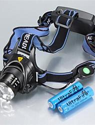 Недорогие -Налобные фонари Фары для велосипеда Светодиодная лампа Cree® XM-L T6 1 излучатели 1200 lm 3 Режим освещения с батарейками Масштабируемые Водонепроницаемый Регулируется