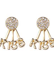 hesapli -1 çift Kadın's Klasik Vidali Küpeler - Simüle Elmas Harf Tatlı sevimli Stil Mücevher Altın / Gümüş Uyumluluk Parti Festival