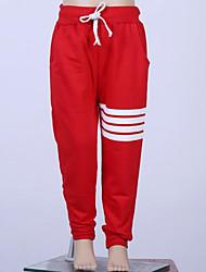 levne -Děti Dívčí Základní Denní Jednobarevné Polyester Kalhoty Rubínově červená