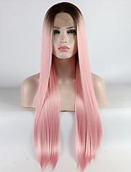 voordelige -Pruik Lace Front Synthetisch Haar Dames Recht Ombre Middelste stuk 180% Human Hair Density Synthetisch haar 18-26 inch(es) Verstelbaar / Kant / Hittebestendig Ombre Pruik Lang Kanten Voorkant Ombre
